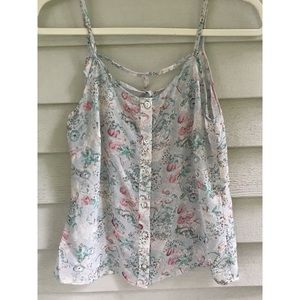 Silk Floral Print Crop Top Size Small
